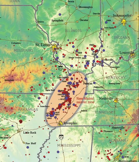Topographic map showing earthquakes greater than magnitude 2.5 (circles). Red circles are earthquakes that occurred after 1972. Blue circles are earthquakes that occurred before 1973. Larger earthquakes are represented by larger circles. USGS image