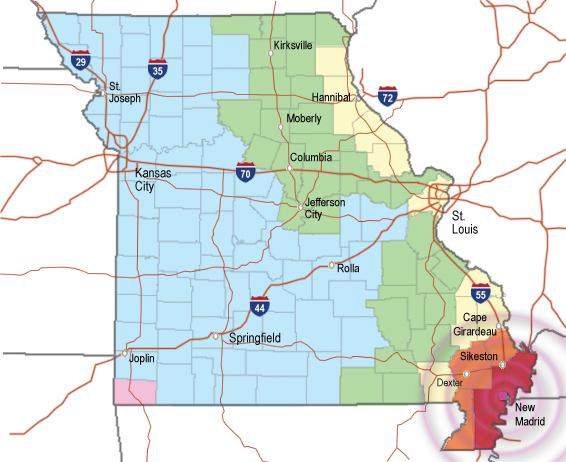 Missouri Earthquake Preparedness - Missouri fault line map