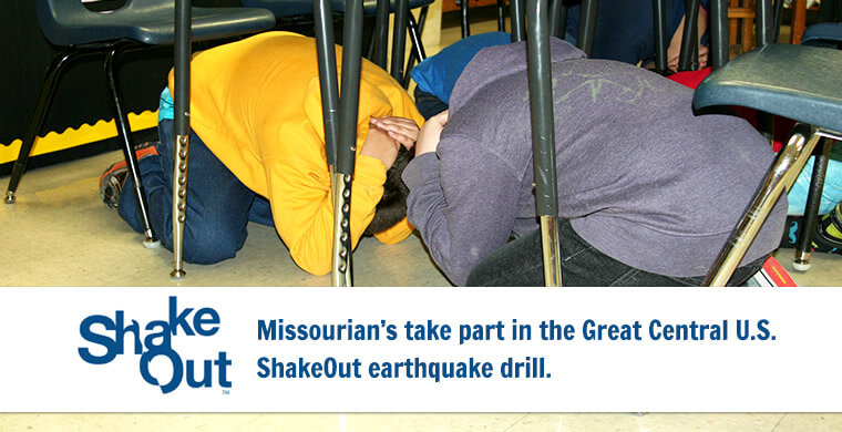 ShakeOut Missourians take part in the Great Central U.S. ShakeOut Earthquake drill