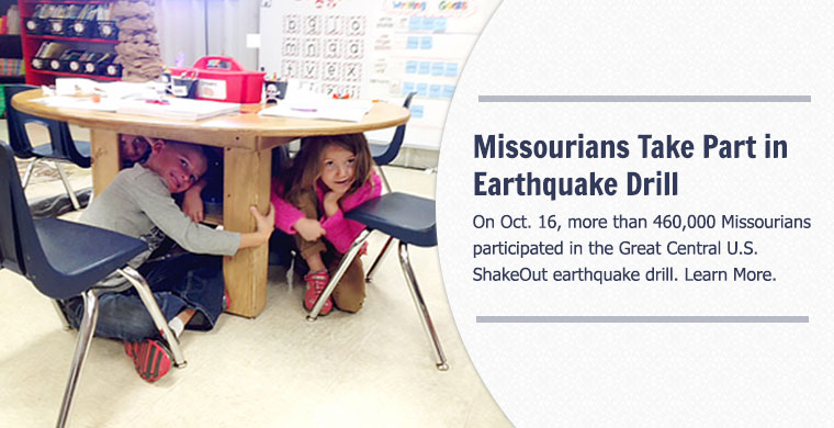 Missourians Take Part in Earthquak Drill - On Oct. 16, more than 460,000 Missourians participated in the Great Central U.S. ShakeOut earthquake drill.