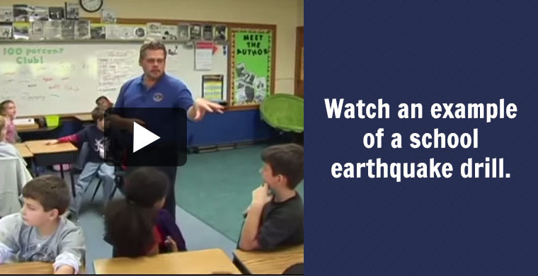 Watch an example of a school earthquake drill