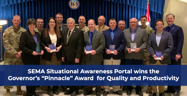 "SEMA Situational Awareness Portal wins the Governor's ""Pinnacle"" Award for Quality and Productivity"