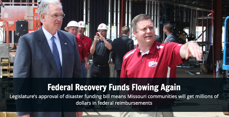 Passage of a supplemental disaster funding bill means Missouri communities can get millions of dollars in federal reimbursements. Read more...