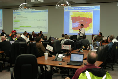 National Weather Service Springfield Warning Coordination Meteorologist Steve Runnels provides a weather update during the January 2017 ice storm. SEOC was at a Level 3 activation.