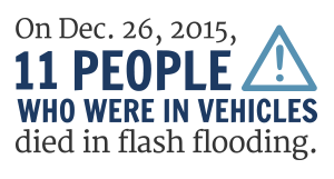 On. Dec. 26, 10 people who were in vehicles died in flash flooding.