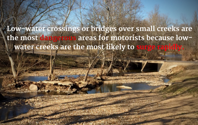 Concrete slab with low water level mostly gravel showing with words Low-water crossings or bridges over small creeks are the most dangerous areas for motorists because low-water creeks are the most likely to surge rapidly.