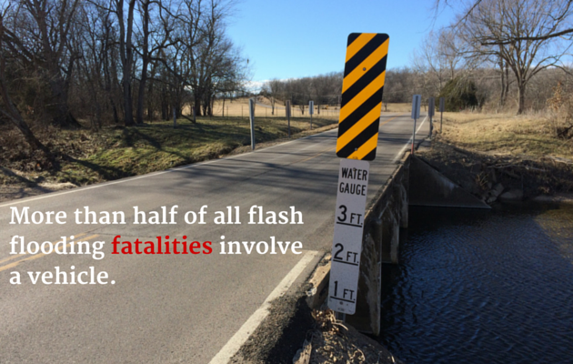 Bridge with water gage and words More than half of all flash flooding fatalities involve a vehicle.
