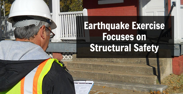 image of a construction worker reviewing a home with words Earthquake Exercise Focuses on Structural Safety.